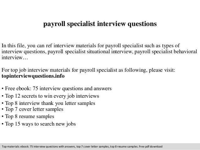 Payroll Specialist Interview Questions In This File, You Can Ref Interview  Materials For Payroll Specialist ...