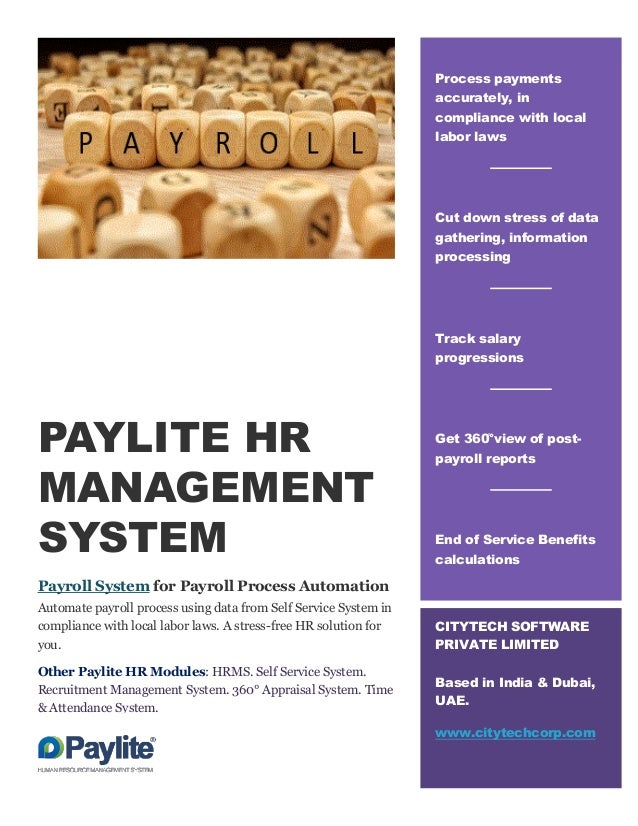 PAYLITE HR MANAGEMENT SYSTEM Payroll System for Payroll Process Automation Automate payroll process using data from Self S...