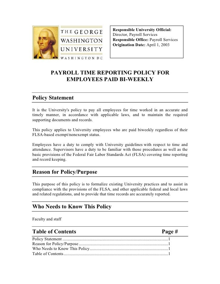 Responsible University Official:                                                                    Director, Payroll Serv...
