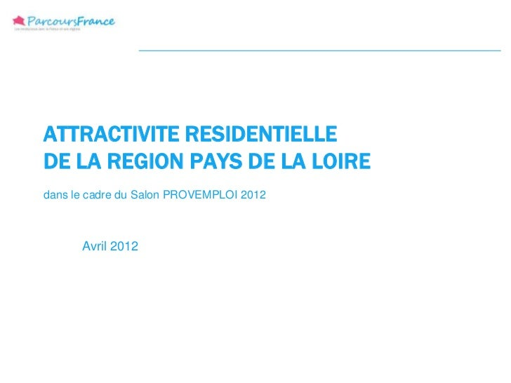 ATTRACTIVITE RESIDENTIELLEDE LA REGION PAYS DE LA LOIREdans le cadre du Salon PROVEMPLOI 2012      Avril 2012