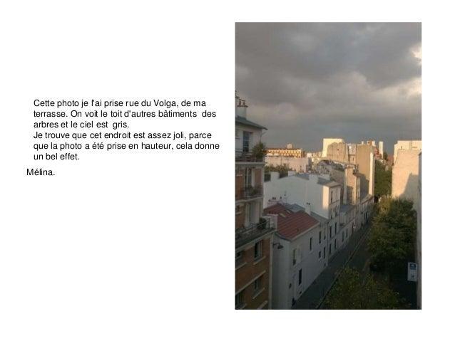 Cette photo je l'ai prise rue du Volga, de ma  terrasse. On voit le toit d'autres bâtiments des  arbres et le ciel est gri...