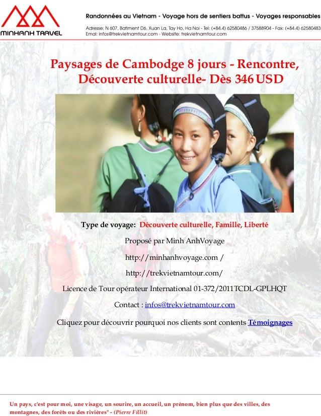 Paysages de Cambodge 8 jours - Rencontre,Découverte culturelle- Dès 346 USDType de voyage: Découverte culturelle, Famille,...