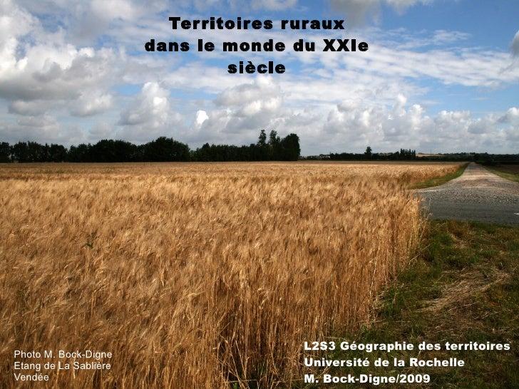 Territoires ruraux dans le monde du XXIe siècle L2S3 Géographie des territoires Université de la Rochelle M. Bock-Digne/20...