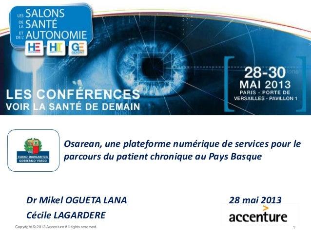 Copyright © 2013 Accenture All rights reserved. Osarean, une plateforme numérique de services pour le parcours du patient ...