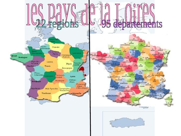 les pays de la Loires 22 regions 95 departements