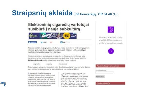 Straipsnių sklaida (30 konversijų, CR 34.48 % )
