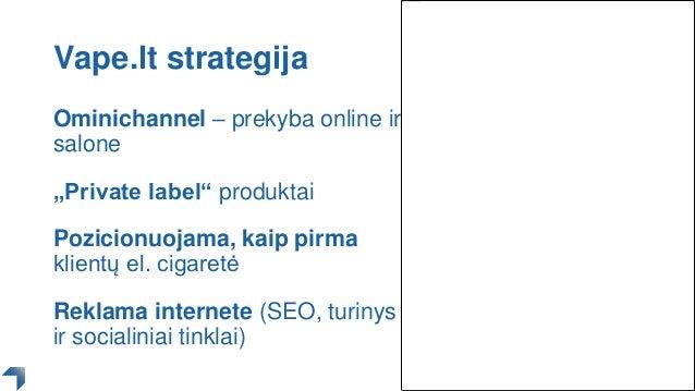 """Vape.lt strategija Ominichannel – prekyba online ir salone """"Private label"""" produktai Pozicionuojama, kaip pirma klientų el..."""