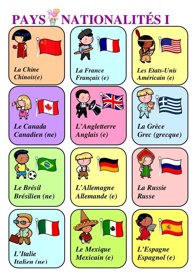 PAYS             NATIONALITÉS ILa Chine          La France       Les Etats-UnisChinois(e)        Français (e)    Américain...