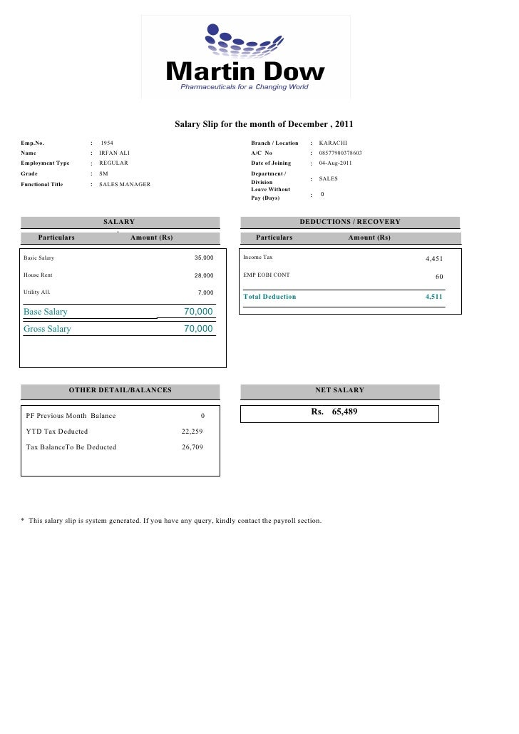 Payslip of 12 2011 for emp1954 – Payroll Slip
