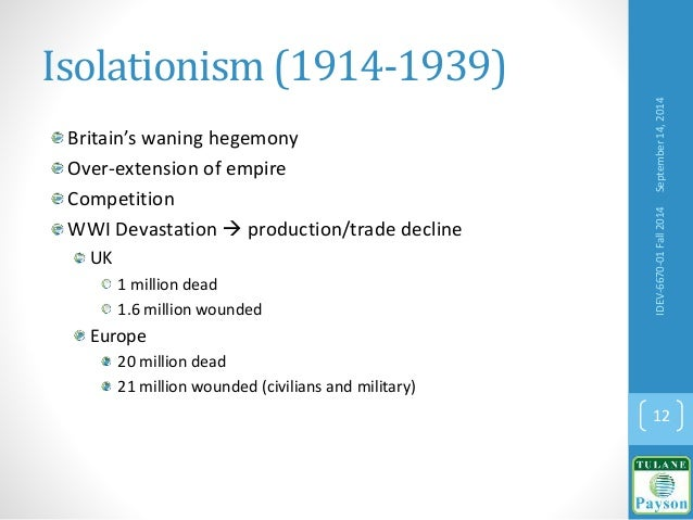 Isolationism (1914-1939) Britain's waning hegemony Over-extension of empire Competition WWI Devastation  production/trade...