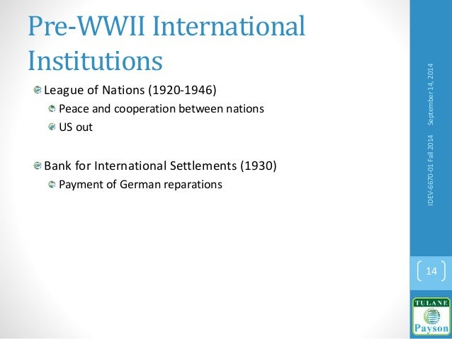 Pre-WWII International Institutions League of Nations (1920-1946) Peace and cooperation between nations US out Bank for In...