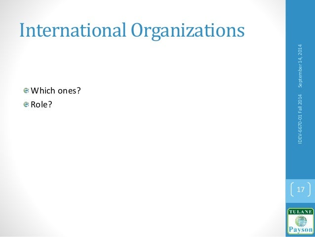 International Organizations Which ones? Role? September14,2014IDEV-6670-01Fall2014 17