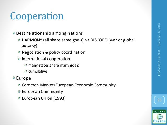 Cooperation Best relationship among nations HARMONY (all share same goals) >< DISCORD (war or global autarky) Negotiation ...