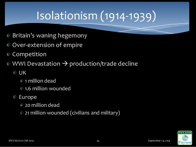 Britain's waning hegemony Over-extension of empire Competition WWI Devastation  production/trade decline UK 1 million dea...