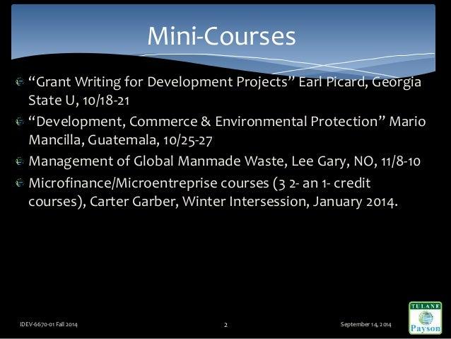 """Grant Writing for Development Projects"" Earl Picard, Georgia State U, 10/18-21 ""Development, Commerce & Environmental Pro..."