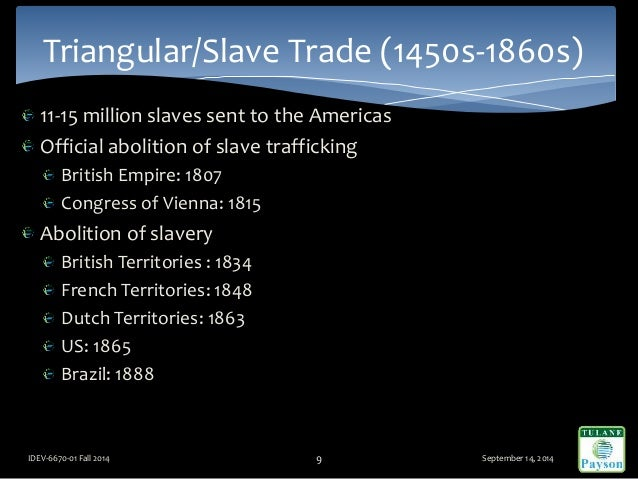 11-15 million slaves sent to the Americas Official abolition of slave trafficking British Empire: 1807 Congress of Vienna:...
