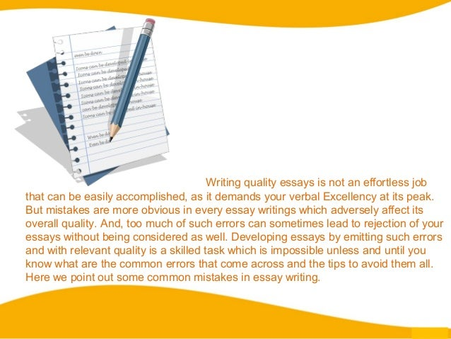 Mistakes when writing an essay