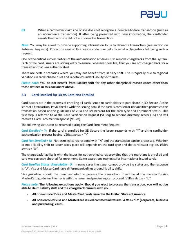 PayU 3D Secure Merchant Guide