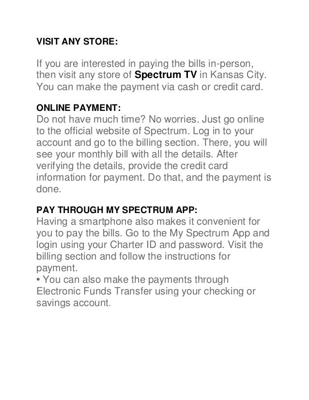 Pay your charter bills with convenience through spectrum in kansas ci…