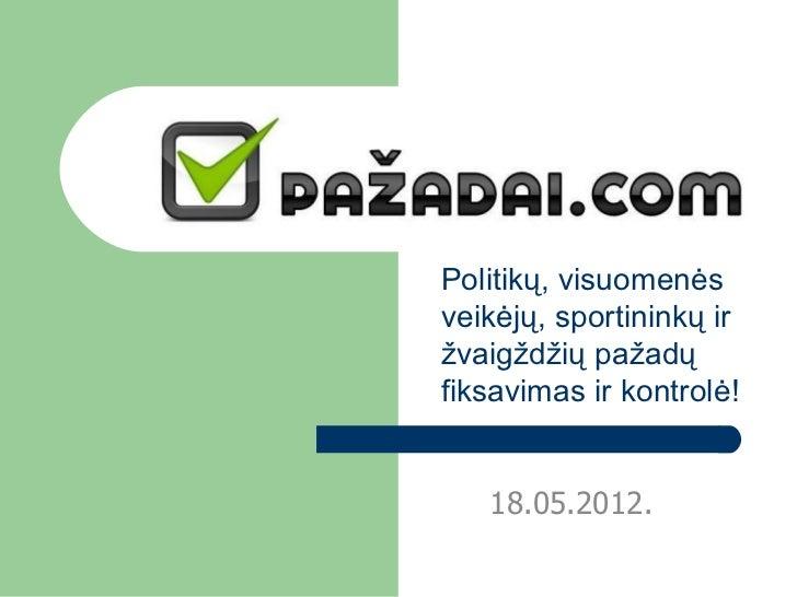 Politikų, visuomenėsveikėjų, sportininkų iržvaigždžių pažadųfiksavimas ir kontrolė!   18.05.2012.
