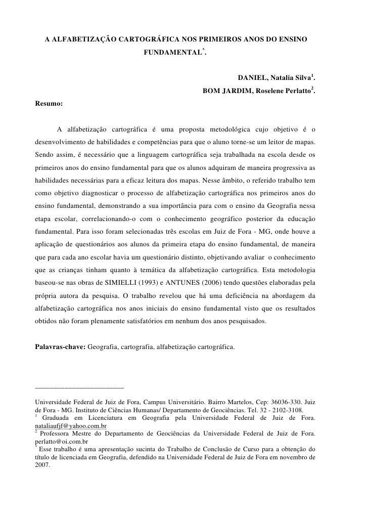 A ALFABETIZAÇÃO CARTOGRÁFICA NOS PRIMEIROS ANOS DO ENSINO                                       FUNDAMENTAL*.             ...