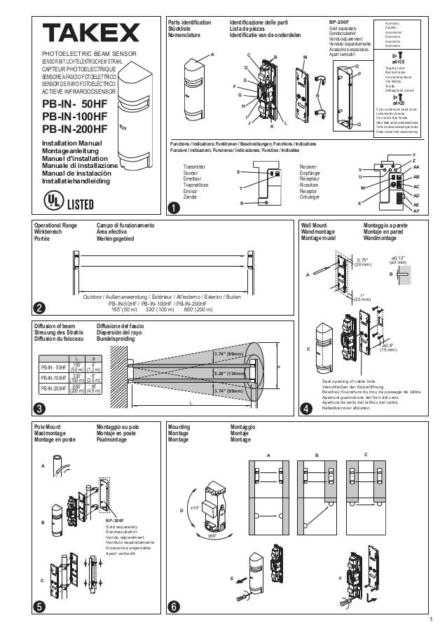 Takex PB-IN-100HF Instruction Manual