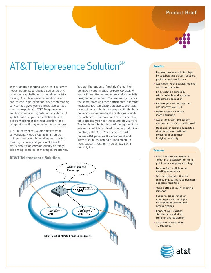 Product BriefAT&T Telepresence SolutionSM                                                                           Benefi...