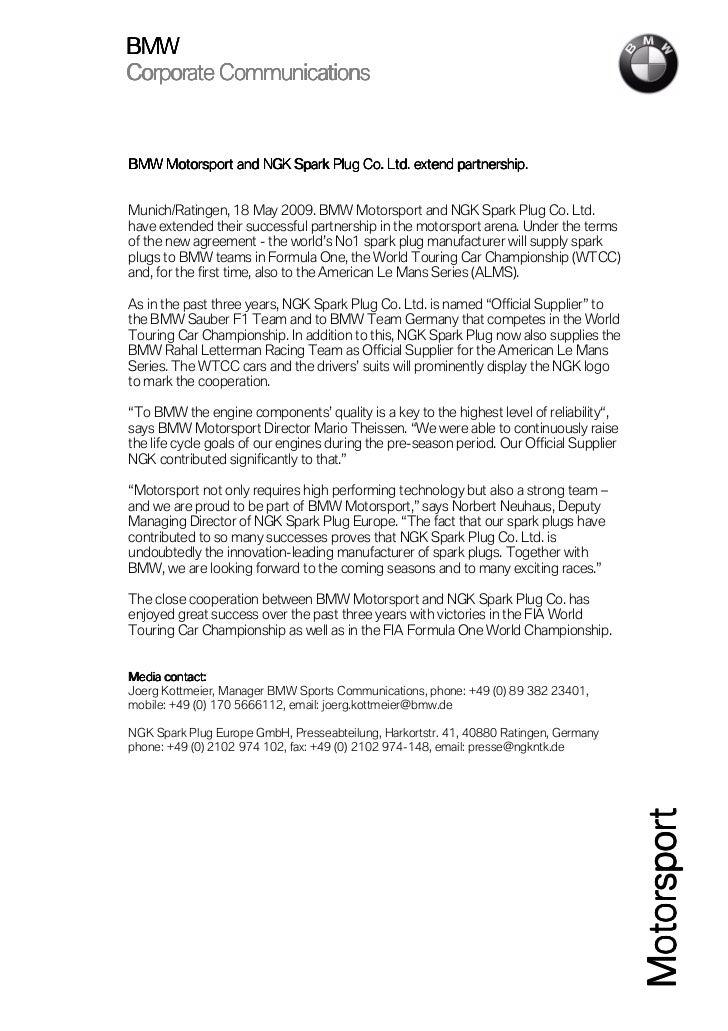 BMW Corporate Communications                                                      partnership. BMW Motorsport and NGK Spar...