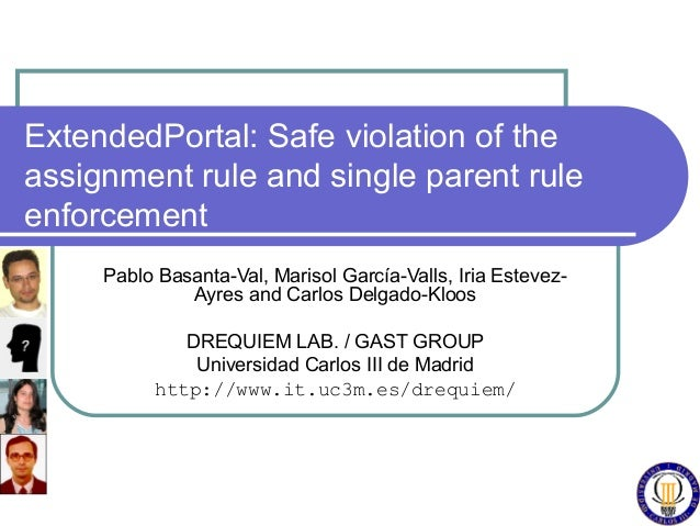 ExtendedPortal: Safe violation of theassignment rule and single parent ruleenforcement     Pablo Basanta-Val, Marisol Garc...