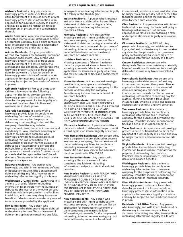 Pet's Best Pet Insurance Claim Form 2013