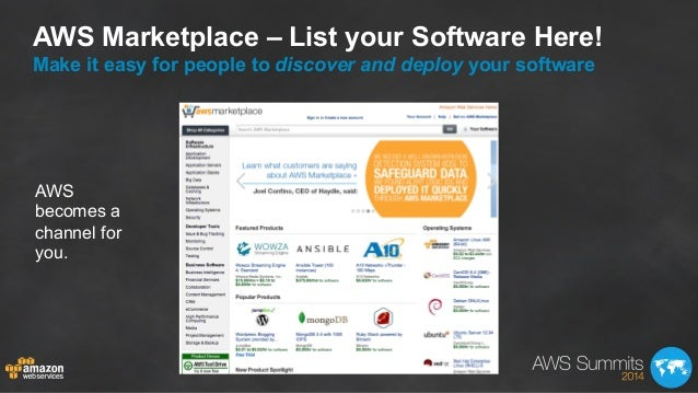 AWS Marketplace – List your Software Here! Make it easy for people to discover and deploy your software AWS becomes a chan...