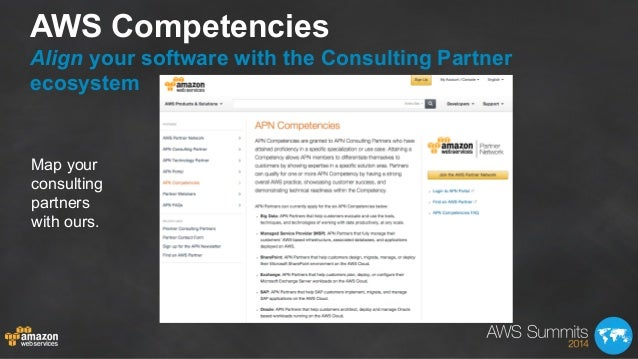 AWS Competencies Align your software with the Consulting Partner ecosystem Map your consulting partners with ours.