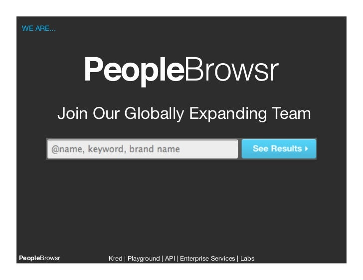WE ARE...           Join Our Globally Expanding TeamPeopleBrowsr    Kred | Playground | API | Enterprise Services | Labs  ...