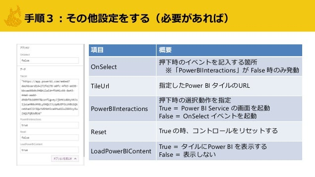 手順3:その他設定をする(必要があれば) 項目 概要 OnSelect 押下時のイベントを記入する箇所 ※「PowerBIInteractions」が False 時のみ発動 TileUrl 指定したPower BI タイルのURL Power...
