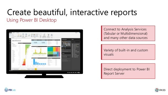 Create beautiful, interactive reports Using Power BI Desktop Connect to Analysis Services (Tabular or Multidimensional) an...