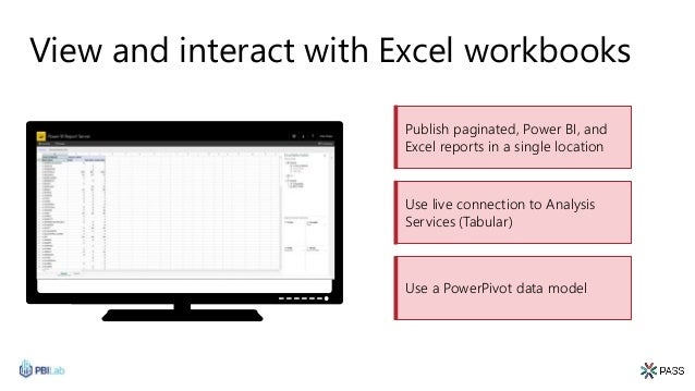 View and interact with Excel workbooks Publish paginated, Power BI, and Excel reports in a single location Use a PowerPivo...
