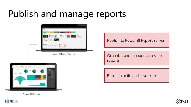 Publish and manage reports Power BI Desktop Publish to Power BI Report Server Re-open, edit, and save back Organize and ma...