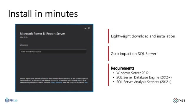 Install in minutes Lightweight download and installation Requirements • Windows Server 2012+ • SQL Server Database Engine ...