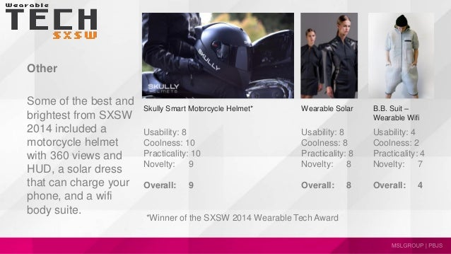 Other Some of the best and brightest from SXSW 2014 included a motorcycle helmet with 360 views and HUD, a solar dress tha...