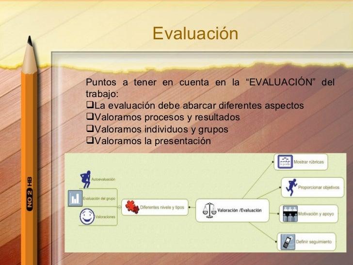 """Evaluación <ul><li>Puntos a tener en cuenta en la """"EVALUACI ÓN""""  del trabajo: </li></ul><ul><li>La evaluaci ó n debe abarc..."""