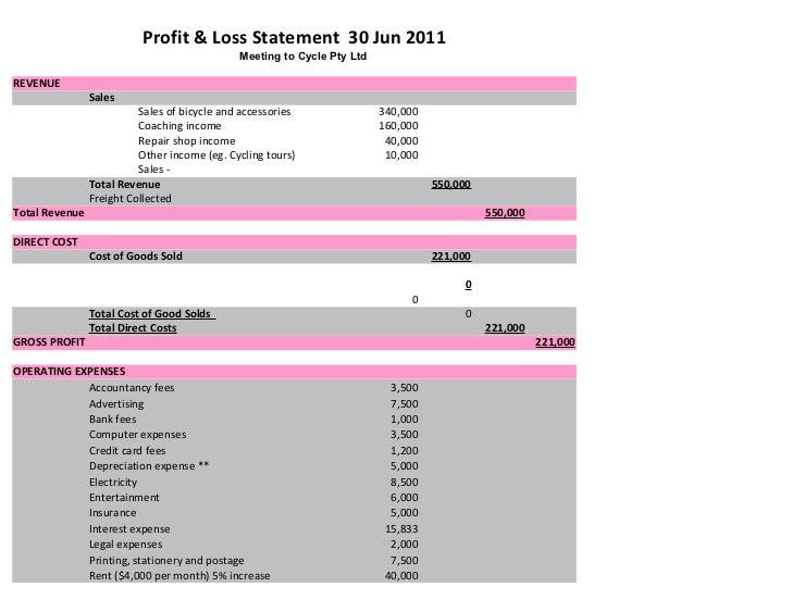 Profit & Loss Statement 30 Jun 2011                                              Meeting to Cycle Pty LtdREVENUE          ...