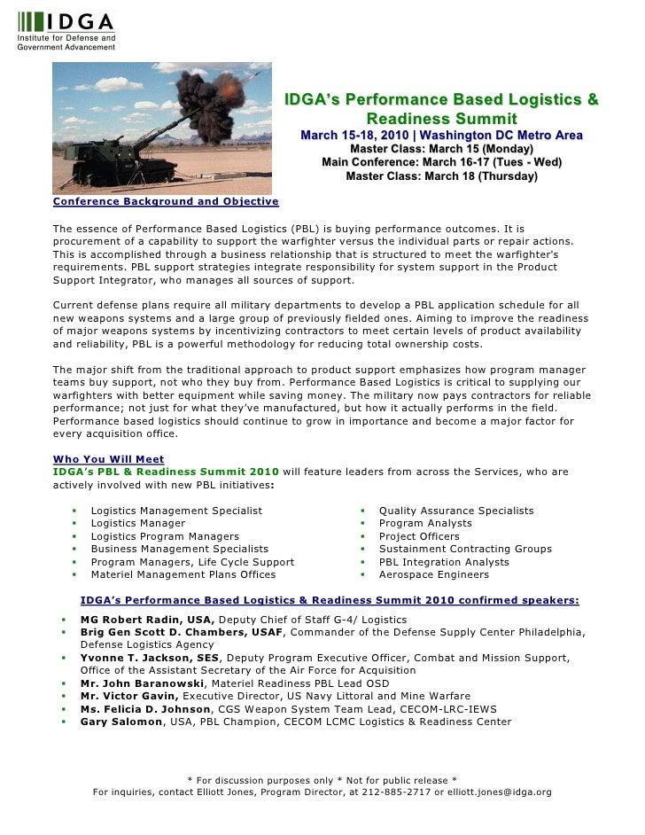 IDGA's Performance Based Logistics &                                                         Readiness Summit             ...