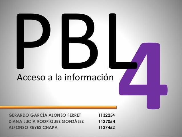 GERARDO GARCÍA ALONSO FERRET 1132254 DIANA LUCÍA RODRÍGUEZ GONZÁLEZ 1137054 ALFONSO REYES CHAPA 1137452 Acceso a la inform...