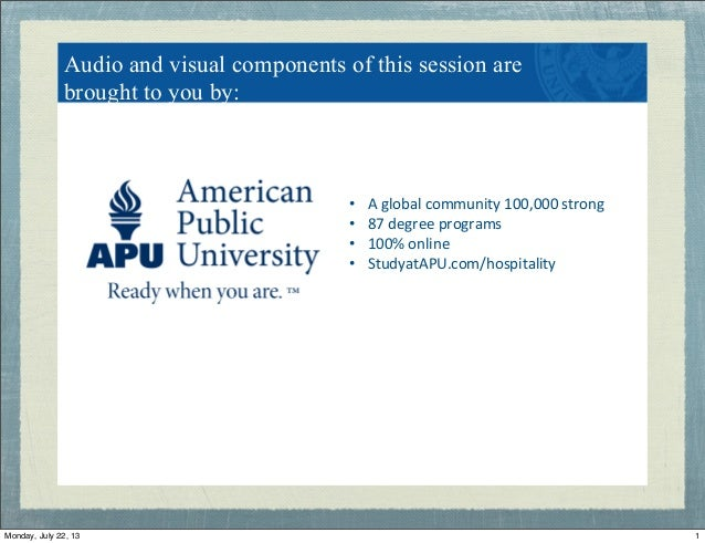 """Audio and visual components of this session are brought to you by: • A""""global""""community""""100,000""""strong"""" • 87""""degree""""prog..."""