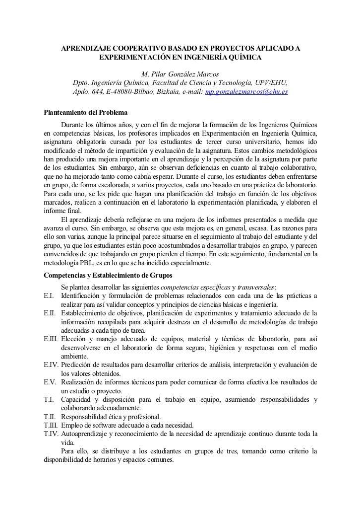 APRENDIZAJE COOPERATIVO BASADO EN PROYECTOS APLICADO A               EXPERIMENTACIÓN EN INGENIERÍA QUÍMICA                ...