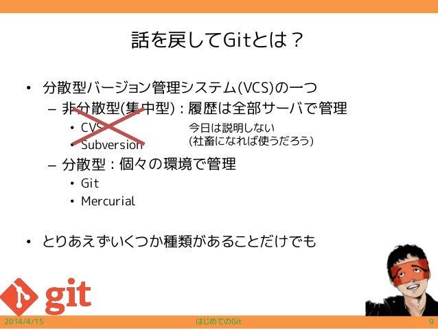 話を戻してGitとは? • 分散型バージョン管理システム(VCS)の一つ – 非分散型(集中型) • CVS • Subversion – 分散型 • Git • Mercurial • とりあえずいくつか種類があることだけでも 2014/4/...