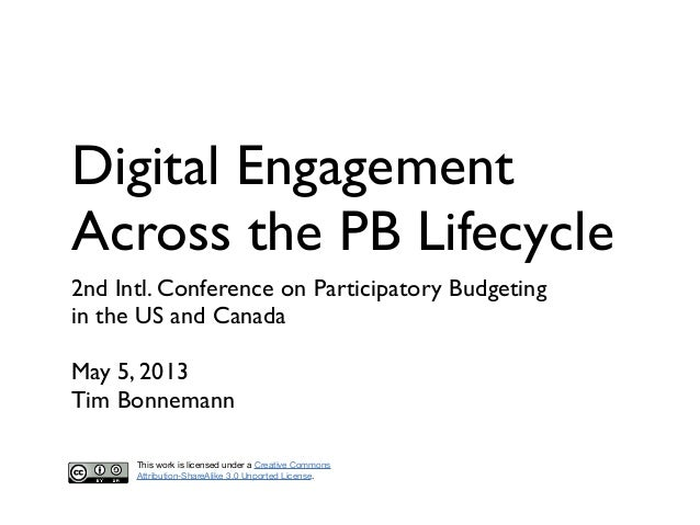 Digital EngagementAcross the PB Lifecycle2nd Intl. Conference on Participatory Budgetingin the US and CanadaMay 5, 2013Tim...