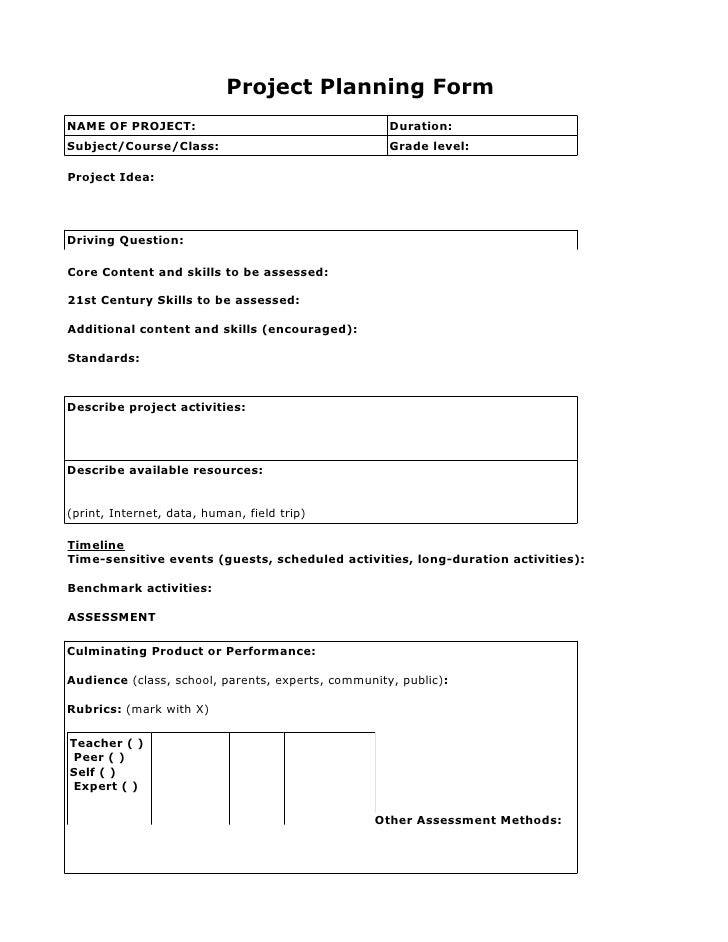 pbl project planning form