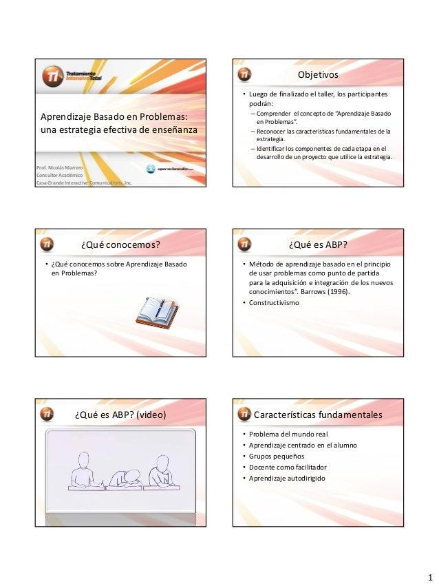 1Aprendizaje Basado en Problemas:una estrategia efectiva de enseñanzaProf. Nicolás MarreroConsultor AcadémicoCasa Grande I...