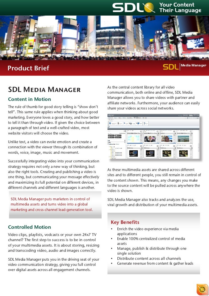 Product Brief SDL Media Manager